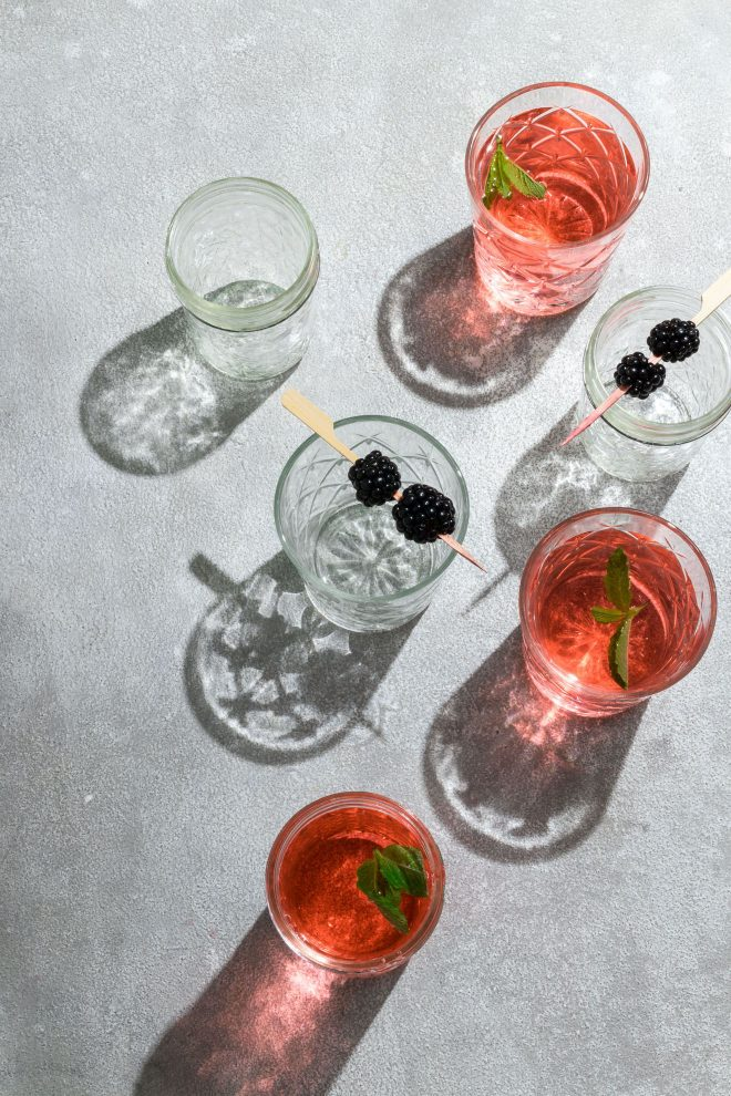 An image of an array of tropical drinks as an example of a photo taken from a 25 degree angle.