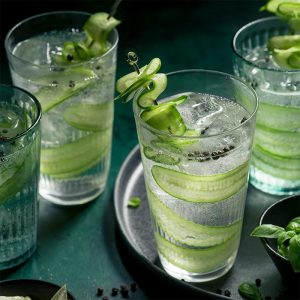 Image of glasses of water with cucumber in them