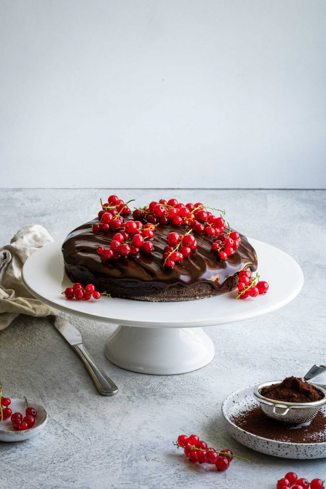 Photo of Chocolate Cake with Berries, photograph by Lauren Caris Short of Food Photography Academy