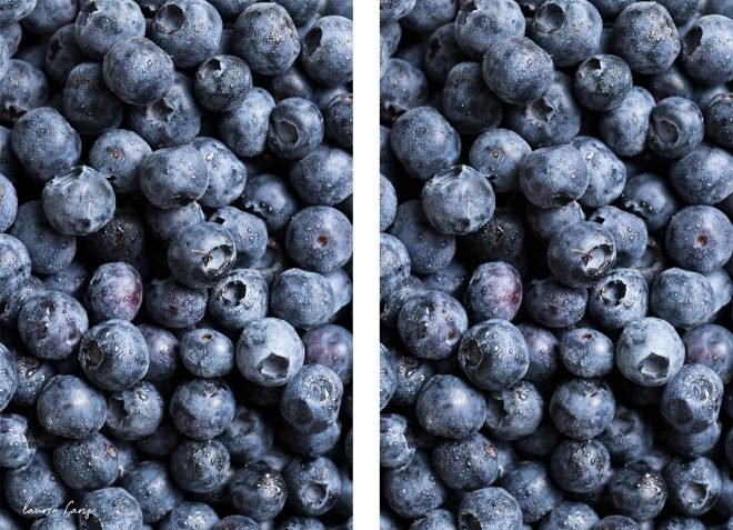 Image of blueberries with watermark vs without