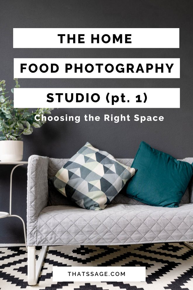 "Home studio for food photorgraphy with a couch with patterned pillows, photographed by Lauren Caris Short of Food Photography Academy, with text that reads ""the home food photography studio. part 1, choosing the right space"""