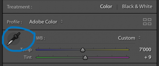 Lightroom White Balance Colour Picker