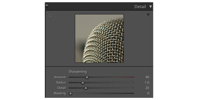 A detailed photograph of a microphone processed by Lightroom editing