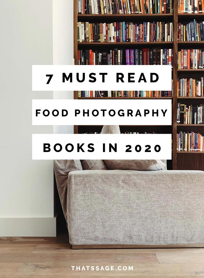 """floor to ceiling bookshelf with a couch in front. Text overlays the images """"7 must read food photography books in 2020"""""""