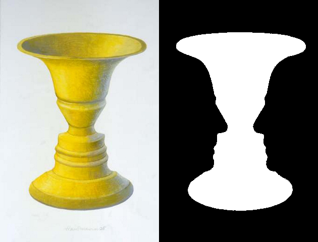 Drawing of a golden goblet against a white-gray backdrop next to a silhouette of the goblet. The goblet is white surrounded by a black background.