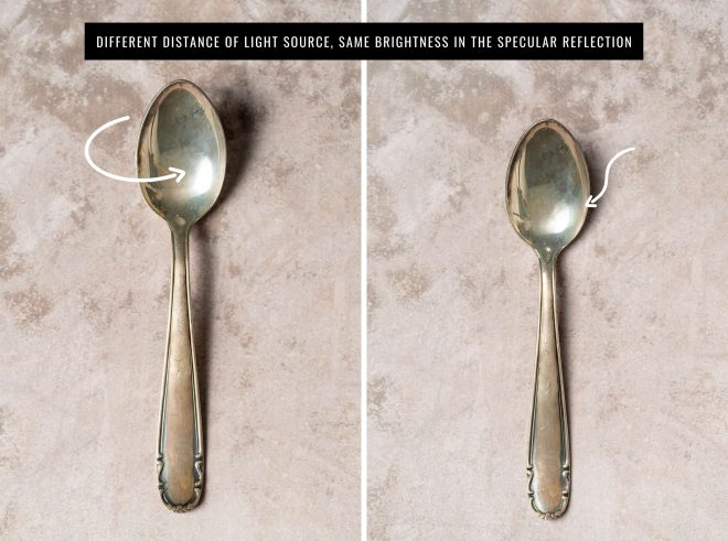 Two images of a single spoon, side by side. The light source of the photo is at different distances away from the spoon in each photo, making the reflections on the spoons different sizes. Photograph by Lauren Caris Short of Food Photography Academy