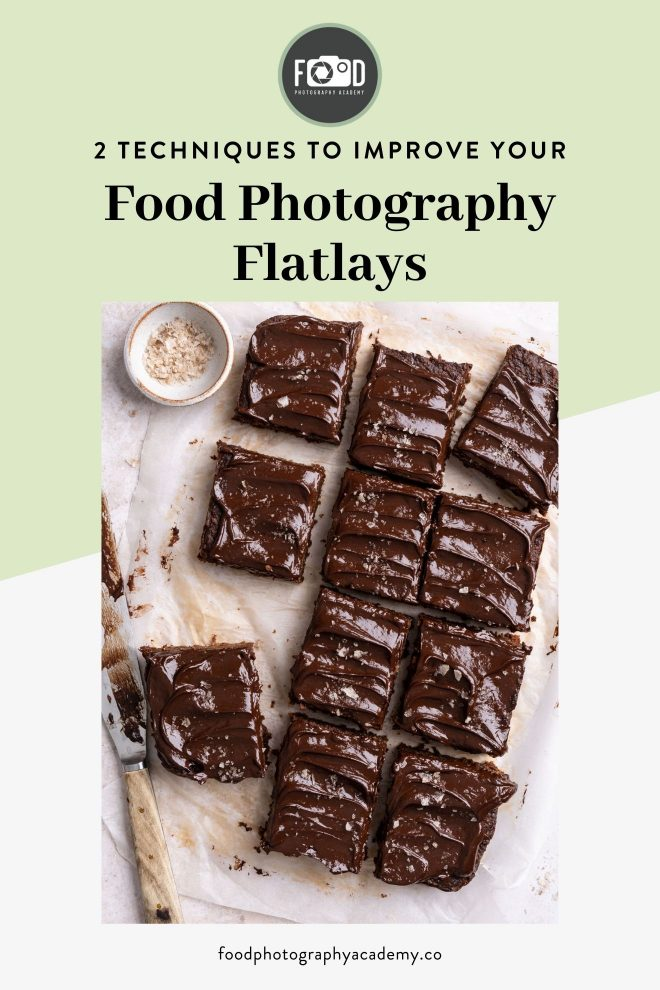 Flatlay image of brownies composed using the diagonal line technique by Lauren Short of Food Photography Academy. Image overlaid with text that reads 2 Techniques to Improve Your Food Photography Flatlays.