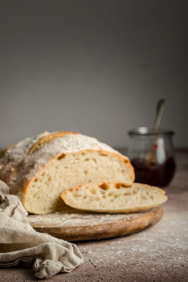 A focus failure image of a loaf of bread as an example of a common beginner food photography mistake. Example by Lauren Short of Food Photography Academy.