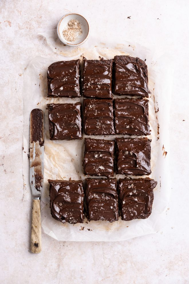 A flatlay image of brownies using straight lines shot by Lauren Short from Food Photography Academy.