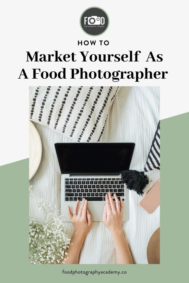 An image of Lauren Short from Food Photography Academy working on her laptop overlaid with text that reads How to Market Yourself As a Food Photographer.