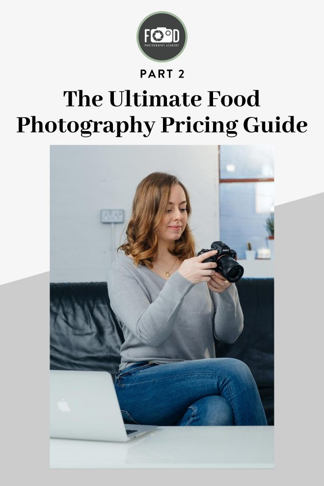 Lauren Short from the Food Photography Academy plays with her camera. Image overlaid with text that reads Part 2 The Ultimate Food Photography Pricing Guide