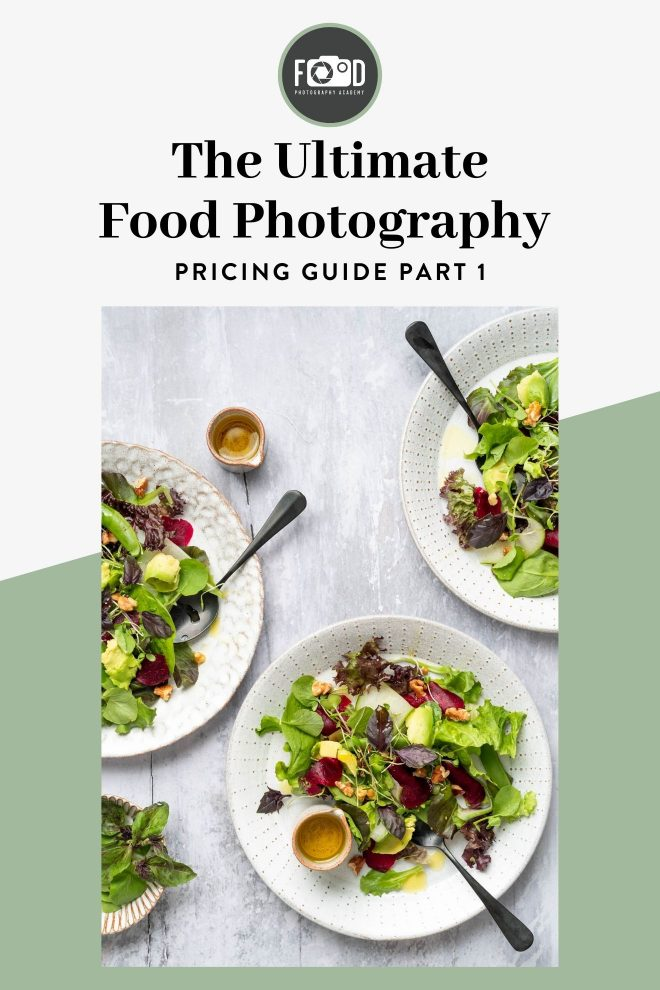 An image of various salads photographed by Lauren Short from Food Photography Academy, overlaid with text that reads The Ultimate Food Photography Pricing Guide Part 1.