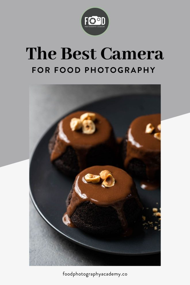 An image of small chocolate cakes by Lauren Short of Food Photography Academy overlaid with text that reads The Best Camera for Food Photography.