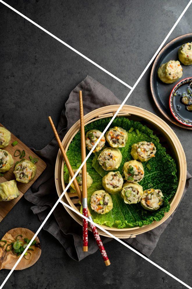 A bowl of dumplings demonstrate the golden triangle composition technique