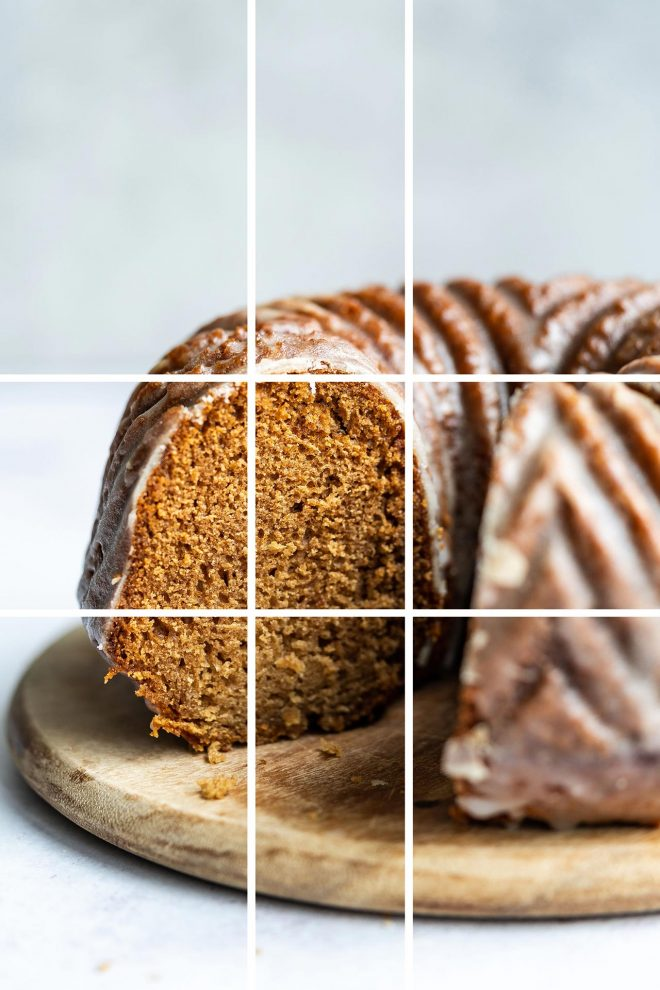 A coffee cake rests on a wooden serving platter as the photographer demonstrates an example of The Phi Grid (Golden Ratio)