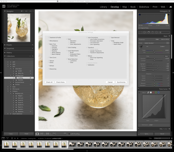 Synchronising changes in Lightroom