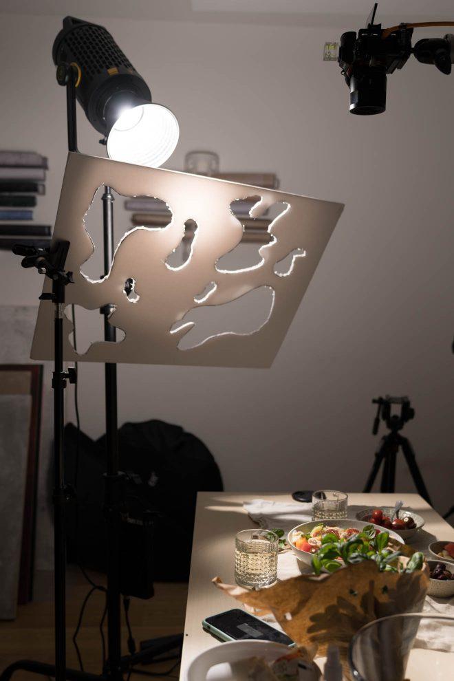 Image of a DIY gobo lighting set up