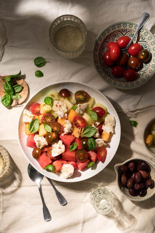 Image of summer salad shot with gobo lighting